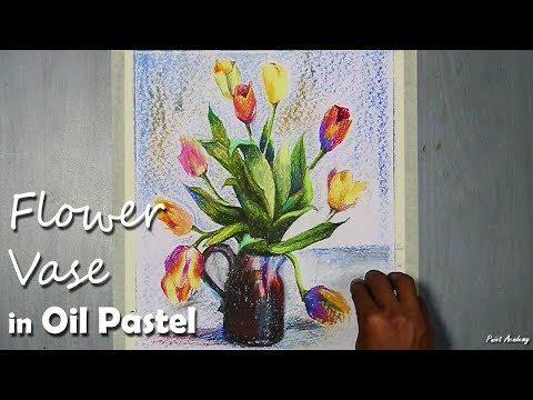 How to Paint A Beautiful Flower Vase in Oil Pastel | step by step