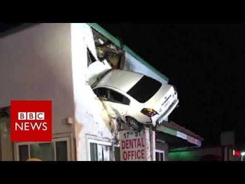 connectYoutube - Dashcam captures a Car crashes into building in California - BBC News