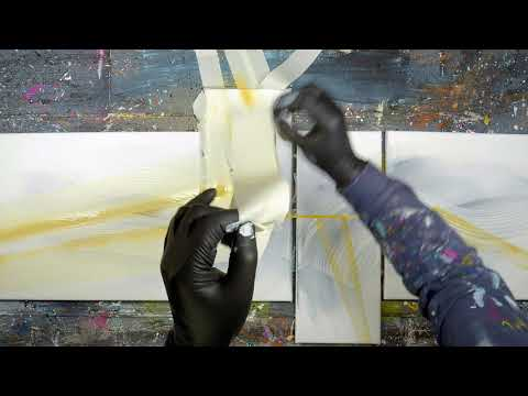 Abstract Painting Demo On 4 Canvas With Acrylic Paint | Annifer