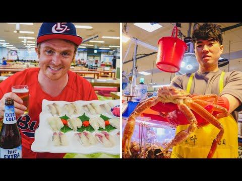 The Biggest Korean Fish and Seafood Market in Busan, Korea | Eating Raw Fish at Jagalchi (자갈치시장)