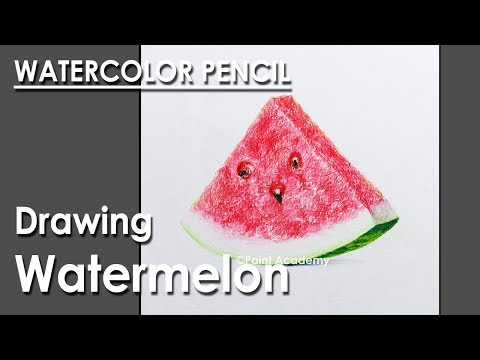 Watercolor Pencil Drawing : Drawing Realistic Watermelon | step by step