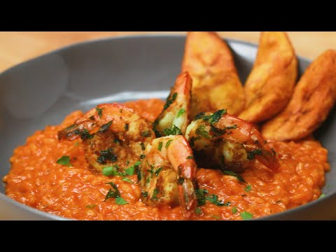 Jollof Risotto With Suya Spiced Shrimp ? Tasty