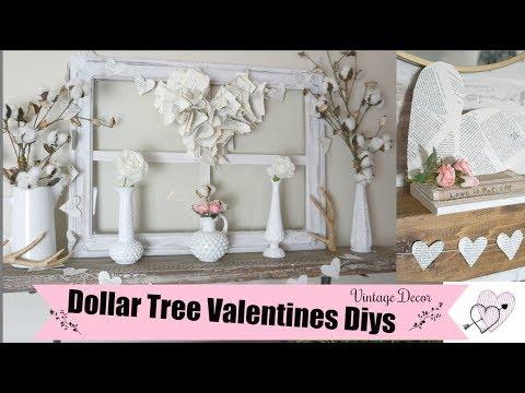 DOLLAR TREE DIY VALENTINES DECOR IDEAS | VINTAGE DECOR | Momma from scratch