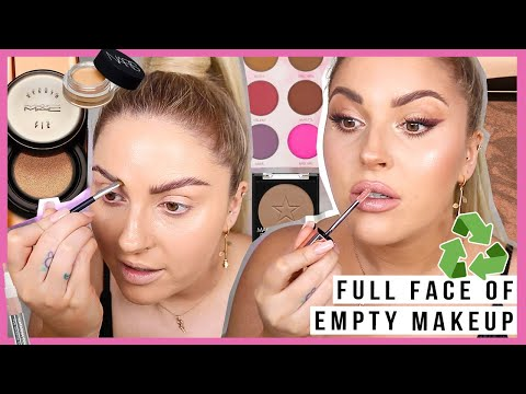 FULL FACE of EMPTY & almost finished makeup! ♻️ bomb irl makeup products