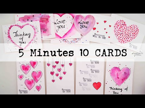❤️🧡💗 5 Minutes ONLY 10 Easiest Valentine's Cards WATERCOLORS for Beginners ~ ✂️ Maremi's Small Art