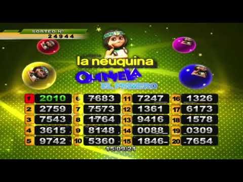 RESULTADO DE QUINIELA EL PRIMERO Nº 24944/ 15-09-21 - LOTERIA LA NEUQUINA