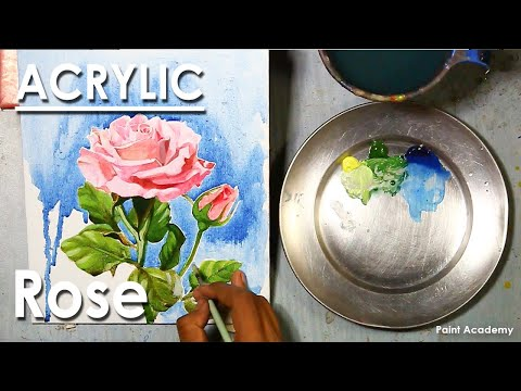 Acrylic Painting : How to Paint Rose | step by step (Acrylic Loose Style)