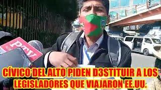COMITÉ CÍVICO DEL ALTO PIDE D3STITUCIÓN DE LOS LEGISLADORES QUE VIAJARON ESTADOS UNIDOS..