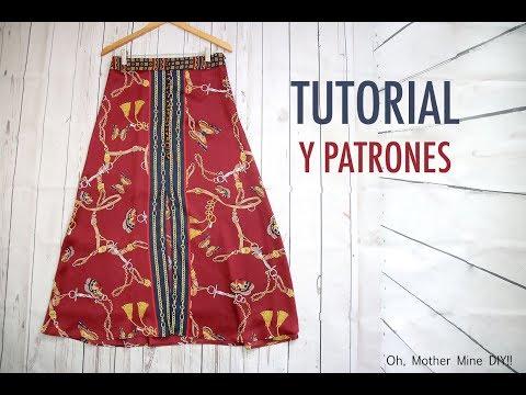 Patrones falda larga botones para mujer (gratis en varias tallas)