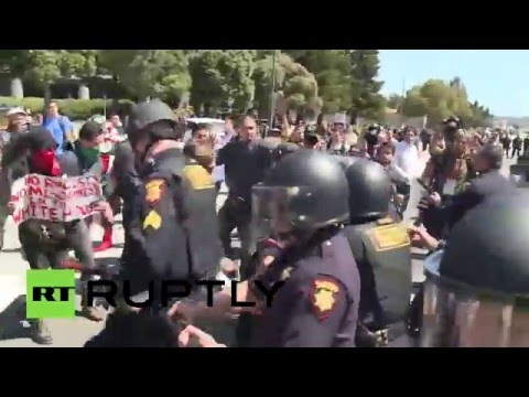 Trump protesters clash with police outside California GOP convention