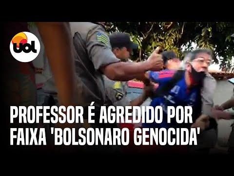 Professor é agredido ao ser preso por faixa 'Bolsonaro genocida'