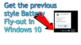 Windows 10 Tip - Enable the Previous Style Battery Fly-out in Windows 10