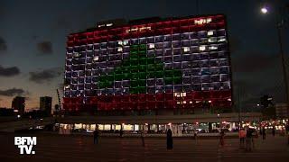 La mairie de Tel Aviv arbore le drapeau Libanais sur sa façade en hommage aux victimes