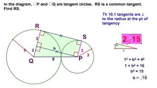 Tangents - 3 problems including common internal tangent and