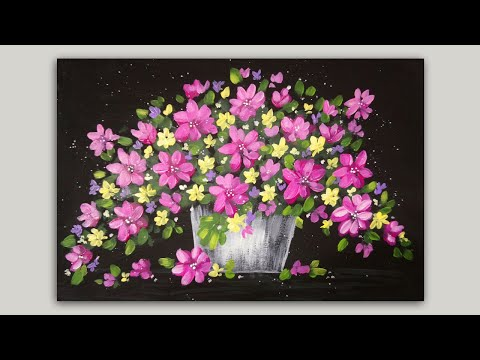 Spring Flower Basket Acrylic Painting Demonstration (time-lapse)