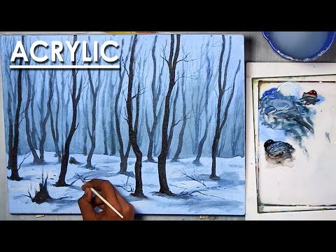 How to Paint A Winter Night Forest in Acrylic | step by step