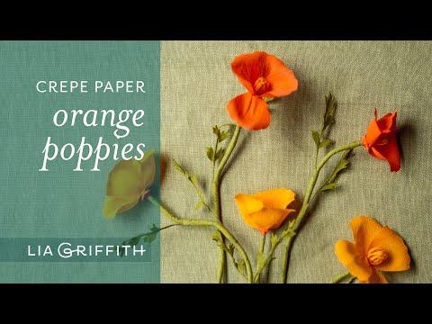 DIY Orange Crepe Paper Poppy Flower