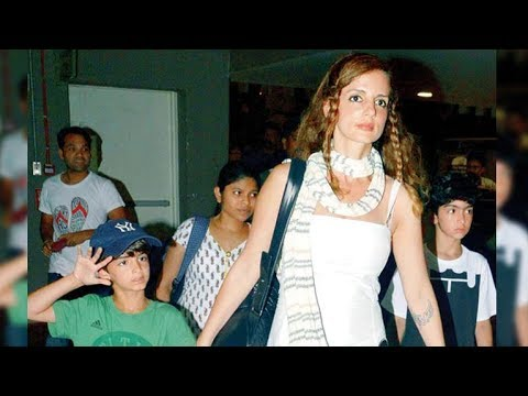 Sussanne Khan spotted with Hrithik's kids at Mumbai Airport!