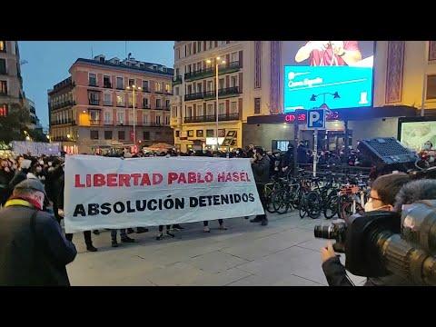 Comienza la concentración en apoyo a Hasél en Madrid