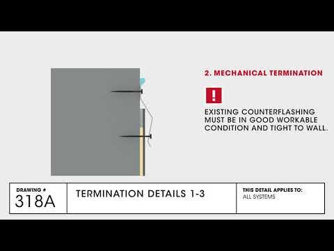 GAF Termination 1-3 Detail for TPO Commercial Roofing - Drawing 318A