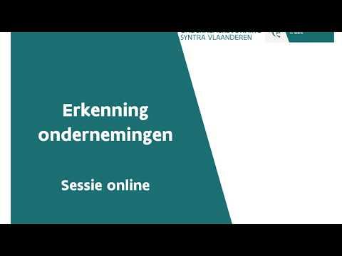 Online sessie   erkenning van ondernemingen