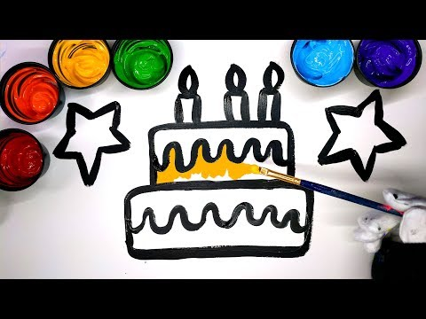 How to draw a Cake with Paint, painting a cake coloring pages, LEARN COLORS, coloring with paint