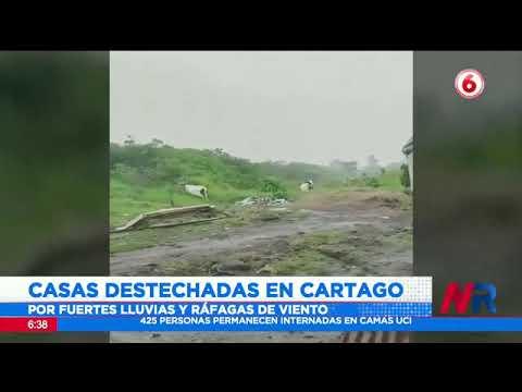 Viviendas destechadas por fuertes vientos en Cartago