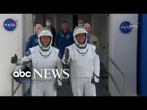 SpaceX Demo-2 astronauts wave goodbye to their families