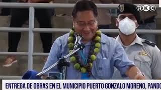 Presidente Luis Arce en Pando, canta canciones e inaugura un coliseo en Gonzalo Moreno