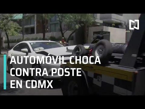 Automóvil pierde el control y se estrella contra poste, CDMX - Las Noticias