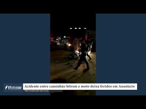 Acidente entre caminhão bitrem e moto deixa feridos em Anastácio