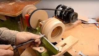 Wooden ball bearing on the lathe