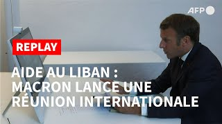 REPLAY - Aide au Liban : le discours introductif de Macron à la visioconférence internationale