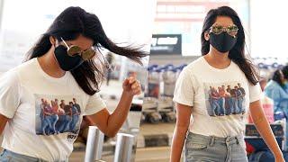 Actress Nabha Natesh Exclusive Visuals @ Hyderabad Airport   Celebrities Airport Videos   TFPC - TFPC