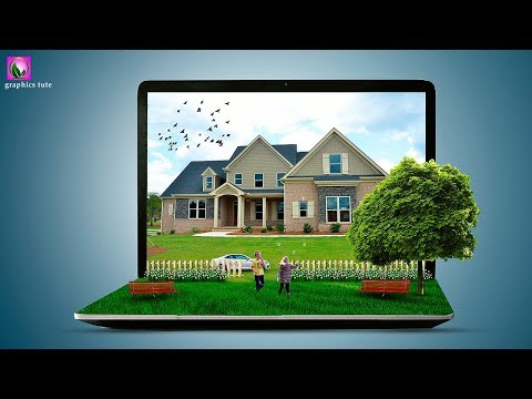 3D Laptop Photo Manipulation In Photoshop - Photoshop Photo Effect - Photoshop CC