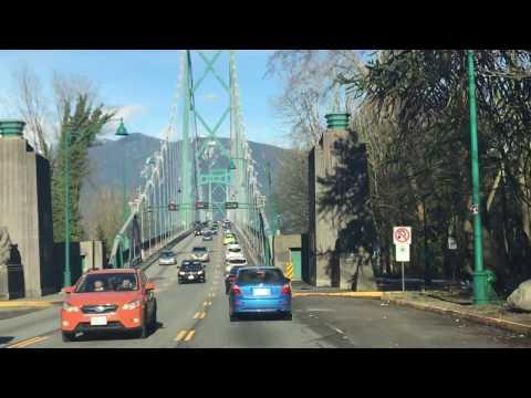 Stanley Park North across Lion's gate bridge. Vancouver BC Canada