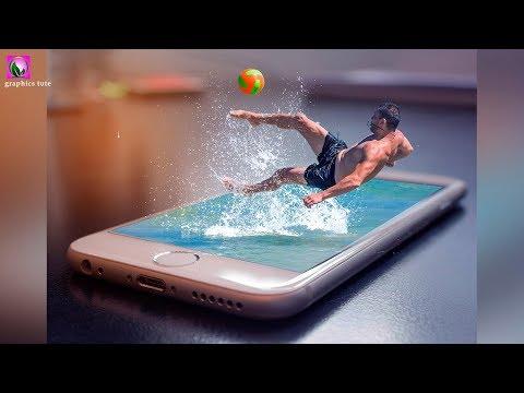3D Water Splash On Mobile - Photoshop Photo Manipulation Tutorial - Photo Effect