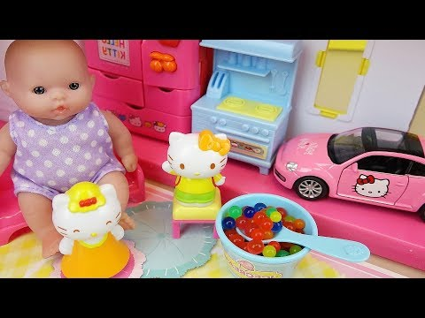 Baby doll Hello Kitty house and car toys play