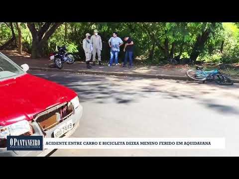 Acidente entre carro e bicicleta deixa menino ferido em Aquidauana