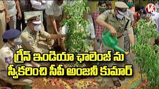 Hyderabad Police Accepts Green India Challenge, CP Anjani Kumar Plants Saplings   V6 News - V6NEWSTELUGU