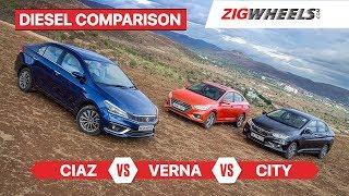 Maruti Suzuki Ciaz Vs Hyundai Verna Vs Honda City | Diesel Comparison Review | ZigWheels.com