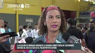 Atletas participan de la competencia de Taekwondo en el Polideportivo España - Nicaragua