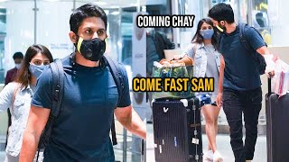 Naga Chaitanya backslashu0026 Samantha Akkineni Back To Hyderabad From Maldives | Tollywood Celebrities Airport - TFPC