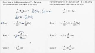 Finding errors while differentiating linear expressions