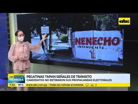Candidatos tapan señales de tránsito con propaganda electoral
