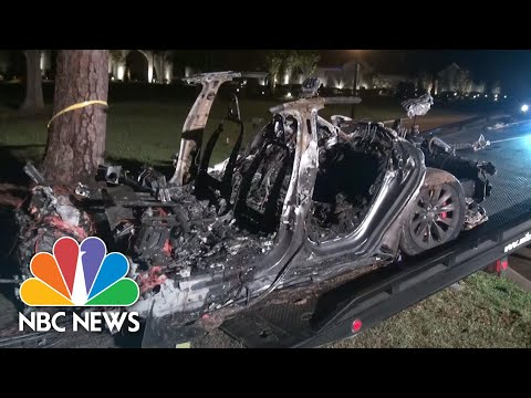 Two Dead In Self-Driving Tesla Crash After Hitting Tree, Burst Into Flames | NBC News NOW