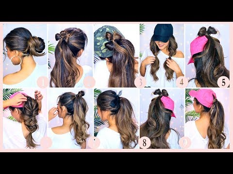?10 EMERGENCY HAIRSTYLES for LAZY GIRLS with No Time  | ? EASY Updos for Workout School Work