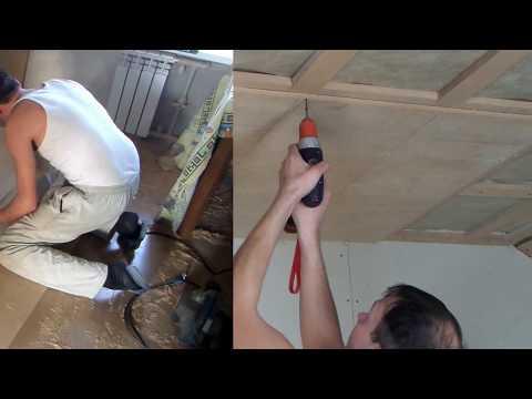 Как в одиночку подшить потолок листовым материалом   Разметка и монтаж листа