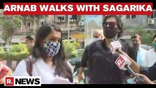 Arnab Goswami Issues Statement As He Walks With Republic's Sagarika To Mumbai Police Station