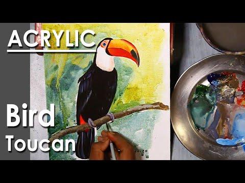 Bird Painting in Acrylic : Toucan Bird